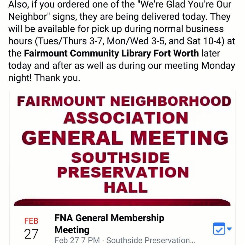 Fairmount Neighborhood Association meeting next Monday Feb 27th at 7hellip