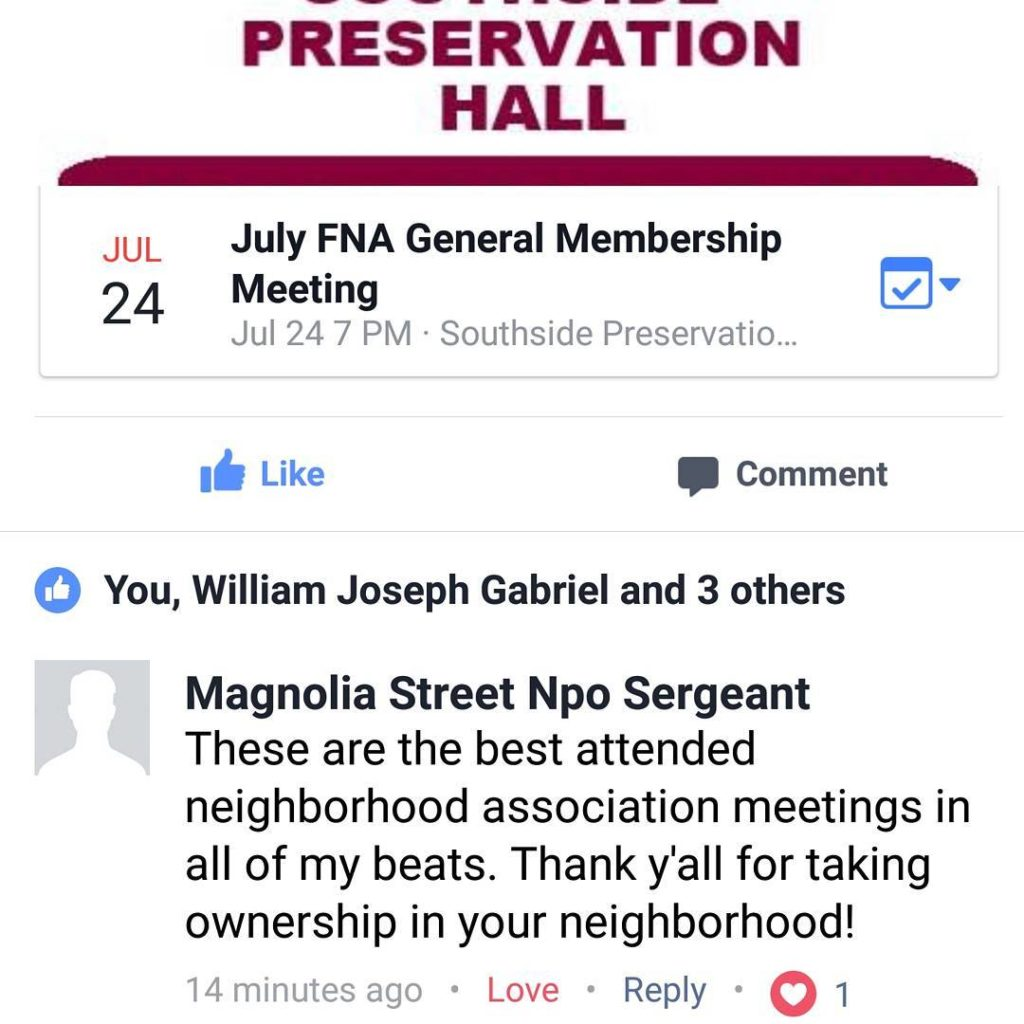 Praise from the NPO Sergeant  fairmountnationalhistoricdistrict fairmountfortworth neighborhoodassociation joinus